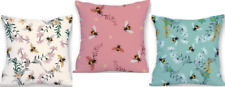 Soft Velvet Feel Bumble Bee Cushion 45x45cm Choose Cover Only Or Filled Cushion