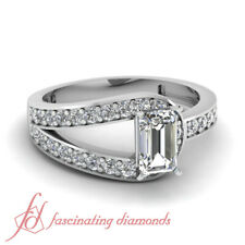 Pave Set 0.65 Ct Emerald Cut Diamond Engagement Ring SI2-D Color GIA Certified
