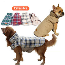French Bulldog Winter Pet Dog Coat Jacket Small Large Poodle Apparel Plaid Warm