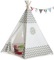 TIPI Spielhaus Kinderzelt Indianer Spielzelt Indianerzelt Baby Grau/Weiß Wigwam