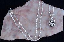 Tibetan Silver 3D Owl, 925 Silver Plated Chain. Handmade In Gift Bag