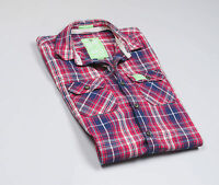 Superdry Men's Red&Blue checked long sleeved Casual Shirt Size Medium
