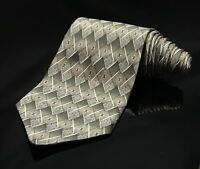 Haggar Geometric Gray Green Grey 100% Silk Mens Tie Necktie