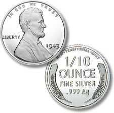 Lincoln 1943 Silver War Penny 1/10 oz .999 Silver BU Round USA Made Bullion Coin