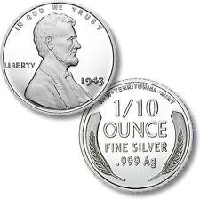 Lincoln 1943 Silver War Penny 1/10 oz .999 Silver BU Round USA Made Bullion Coin