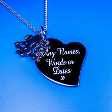 Personalised Heart Fairy Tale Flying Horse Charm Pendant Necklace Names Words