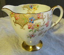 "EB FOLEY CHINA FLORALS AND LATTICE CREAMER 3 5/8"" TALL PATTERN V2170"