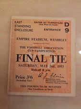 1953 FA Cup Final Ticket Blackpool v Bolton Wanderers (original)