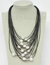 """17""""-24"""" 15row 14mm white pearls black leather necklace magnet clasp j8802"""