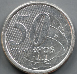2011 BRAZIL -50 CENTAVOS (50C) -  STAINlESS-STEEL ERROR COIN DDR