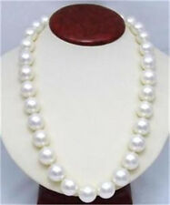 "12mm White South Sea Shell Pearl Round Beads Necklace 25"" AAA"