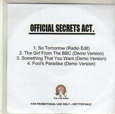 (CI890) Official Secrets Act, So Tomorrow - 2008 DJ CD
