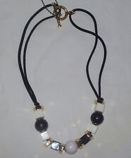 Marc by Marc Jacobs  Necklace Black WHITE GOLD NWT