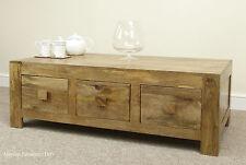 Mantis Light Natural Solid Mango 6 Drawer Coffee Table Storage Mercers Furniture