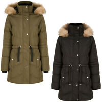 Tokyo Laundry Puffer Coat with Faux Fur Hood Longline Quilted Padded Warm Winter