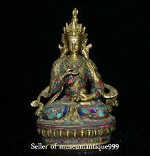"9.2"" Old Tibet Temple Copper Turquoise Vajradhara Vajrabhairava Goddess Statue"