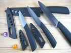 "Black Blade Sharp Ceramic Knife Set Chef's Kitchen Knives 3"" 4"" 5"" 6"" + Covers"