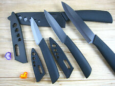 "Black Blade Sharp Ceramic Knife Set Chef's Kitchen Knives 3"" 4"" 5"" 6"" + Covers"