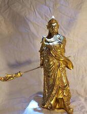 """Guan Gong Statue - 100% Brass, 15"""" tall - Guan Di, Guan Yu, Kwan Kong - Deity"""
