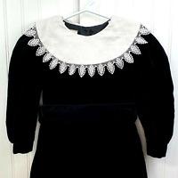 VTG Laura Ashley Mother & Child Black Velvet Toddler 3-4 Years Dress Lace Collar