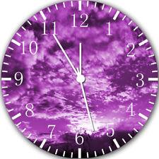 Purple Sunset Frameless Borderless Wall Clock Nice For Gifts or Decor W313