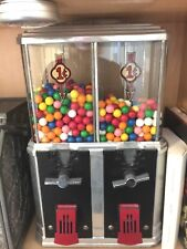 VINTAGE DOUBLE ONE CENT NUGGET PEANUT/GUMBALL VENDING MACHINE