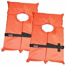 2 Pack Type II Orange Life Jacket Vest - Adult Universal Boating PFD