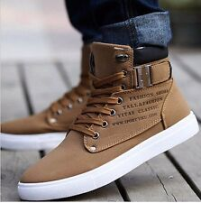 2017 Hot Fashion Mens Shoes Leather Shoes Casual High Top Shoes Canvas  Sneakers c9492145b