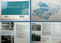 Mercedes Benz 300 SE Betriebsanleitung Bedienung 1966 W108