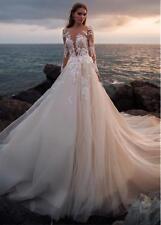 Champagne A-Linie Brautkleider Spitze Langarm Tüll Abendkleid Hochzeitskleid