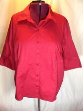 venezia 26 28 (4X?) Women Plus Size Button Red Holiday Formal Career Blouse G11