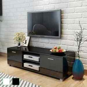 vidaXL Meuble TV à Haute Brillance Armoire Basse Divertissement Blanc/Noir