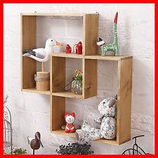 Rustic Shelf Storage Vintage Wooden Floating home office Bookshelf Wall A368