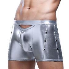 Sexy Mens Shiny Metallic Boxer Briefs Hot Pants Shorts Underwear Dance Clubwear