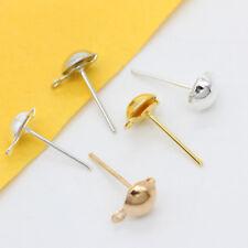 4/5/6/8mm Half Ball Loop Earring ear post stud findings Gold silver plated Metal