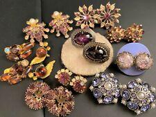 HighEnd Vtg Lot 10 Prs PURPLE RSt Earrings Miriam Haskell J Rivers Weiss Juliana
