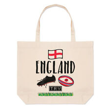 Rugby England Large Beach Tote Bag - Funny League Union Rose Flag Shoulder