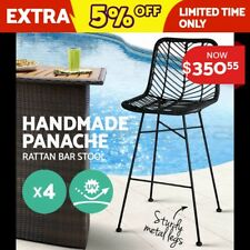 4x Outdoor Bar Stools Furniture Rattan Barstool Dining Chair PE Wicker Black3923