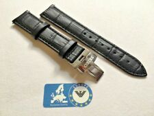 Watch Strap for Seiko 20mm Leather Black with Black stitching Buckle Incl SE1