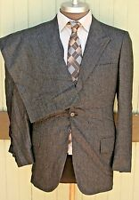 Brioni Beverly Hills Gray PInstripe Wool One Button Suit Pleated Hemmed SZ 41
