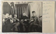 Young Men Playing Tennis Racket Musical Instruments Vintage RPPC Postcard