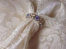 Barbara Bixby Sterling Silver 925 18k Gold Tanzanite Stack Ring Size 6