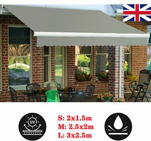 Retractable Awning Manual Outdoor Garden Canopy Patio Sun Shade Shelter Sizes UK