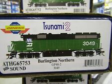 ATHEARN G65753 BURLINGTON NORTHERN GP40-2 HO TSUNAMI 2 DCC & SND ,DC  RD #3049