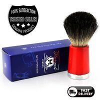 Men's 100% Black Badger Hair Shaving Brush in RED TAPPER Handle Made in England