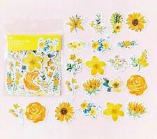 Paquete De 45 Flores de flor de color amarillo Adhesivos Para Manualidades Cardmaking Scrapbooking