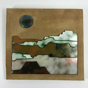 "Southwest Pueblo Desert Wall Art Tile Ceramic Signed Melby Melly 12"" x 11"""