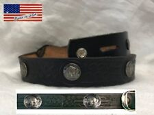 Belt Leather Embossed Buffalo Nickle Replica Black Made in USA