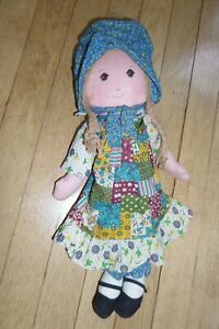 "Vintage 1974 Knickerbocker ORIGINAL Holly Hobbie 16"" Classic Plush Doll"