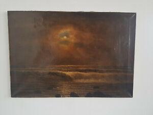 Ernest Herman Ehlers (1858-1943) Meeresbrandung under a Full Moon Oil / Lw